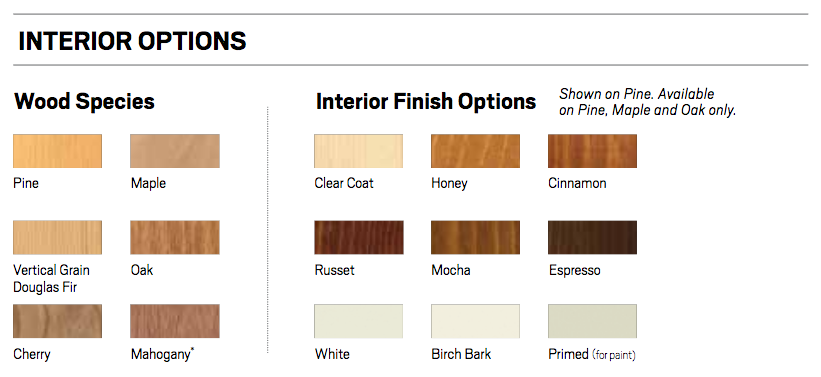 a series interior wood finish options